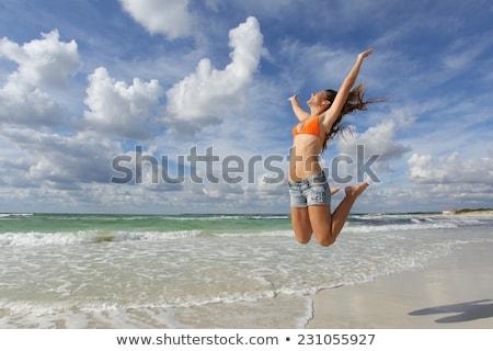 Beach bikini body weight loss success woman Stock photo © Maridav