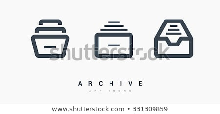 vector database and catalog icon set stock photo © ordogz