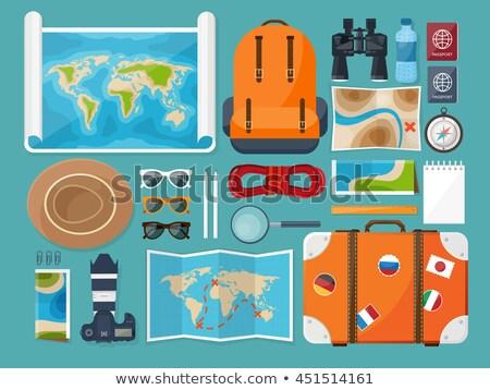 Verkenner pack illustratie kaart kompas reizen Stockfoto © adrenalina