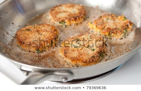Lazac vegyes zöldségek hamburger krumpli hal Stock fotó © Digifoodstock