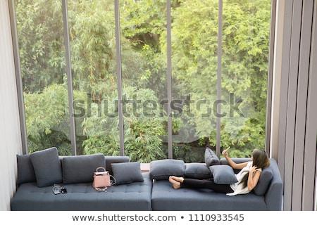 Gyönyörű fiatal nő üveg belső szexi fekete Stock fotó © julenochek