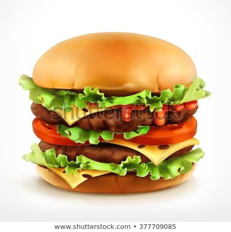 Fast Food Realistic Burger Vector. Big Burger Icon stock photo © pikepicture