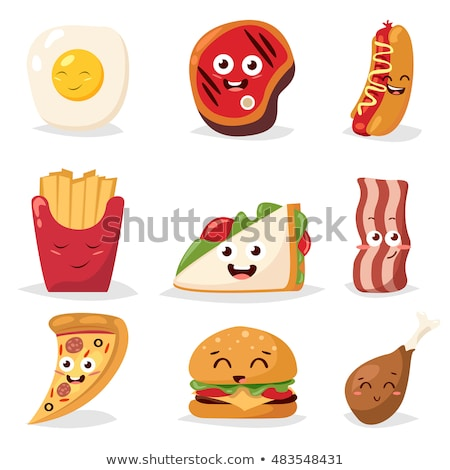 Burger fast food emotions characters collection set Stock photo © rogistok