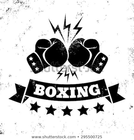 boxkesztyűk · illusztráció · feketefehér · sziluett · kéz · háttér - stock fotó © biv