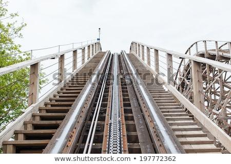 木製 ジェットコースター 青空 雲 青 公園 ストックフォト © njnightsky
