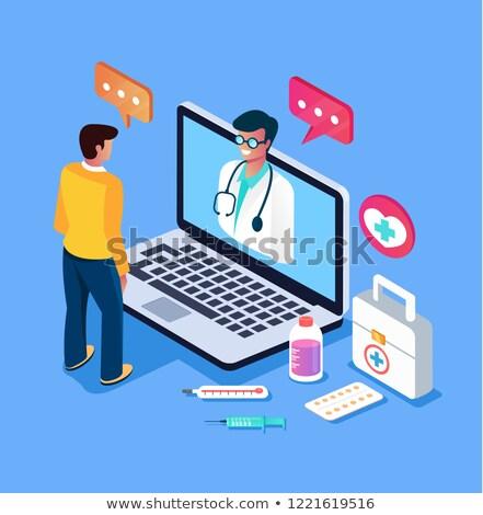 Diagnóstico primeiro socorro médico ilustração 3d azul turva Foto stock © tashatuvango