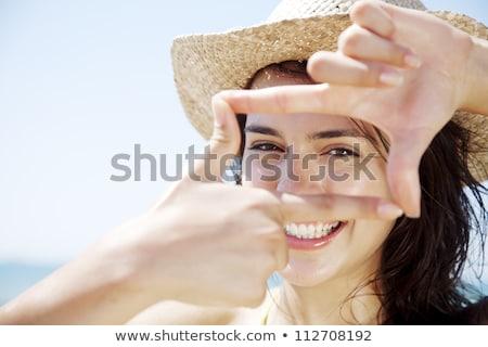 mulher · rosto · sorridente · retrato · jovem · adulto · amarelo - foto stock © deandrobot