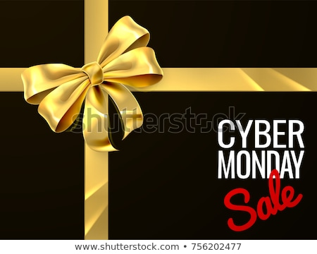 Cyber Monday Sale Gold Gift Bow Sign Stock photo © Krisdog