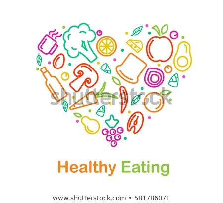 Ikon táplálkozás lineáris stílus egészség bőség Stock fotó © Olena