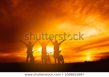 group of friends in field stock photo © is2