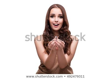 kadın · bijuteri · portre · güzel · genç · kadın · kıvırcık · saçlı - stok fotoğraf © elnur