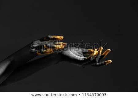 portret · jonge · sexy · vrouw · gouden · verf · donkere - stockfoto © svetography