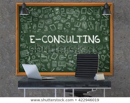Online oktatás firka zöld felirat rajz üzlet Stock fotó © tashatuvango