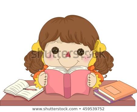 Kid Girl Rag Doll Study Stock photo © lenm
