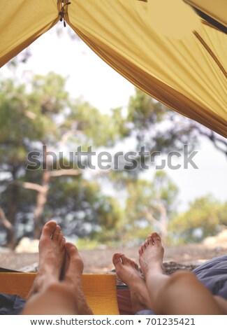 Stock fotó: Nő · sátor · utazás · szabadság · kalap · mosolyog