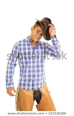 półnagi · cowboy · człowiek · posiedzenia · siano · sexy - zdjęcia stock © keeweeboy