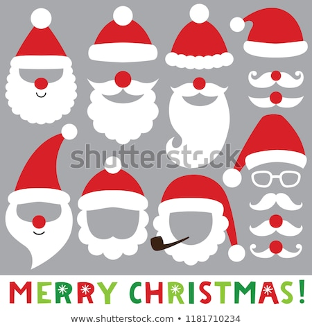 Stock photo: Santa Claus Hat with Beard and Moustaches Isolated