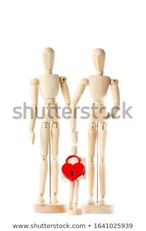 Houten beeldje permanente Rood hart witte Stockfoto © wavebreak_media