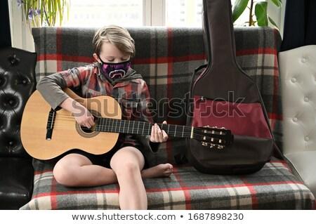 играет · гитаре · Cool · мужчины · белом · фоне - Сток-фото © is2