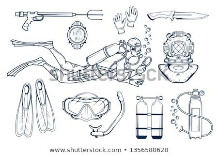 Man Scuba Diver Board Stock photo © lenm