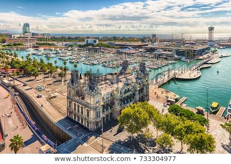 kilátás · Barcelona · kikötő · kék · mediterrán · tenger - stock fotó © joyr
