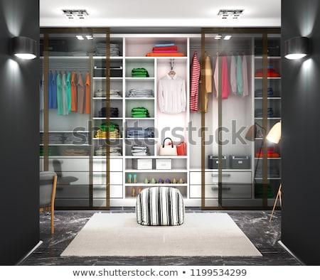 Mujer hermosa vestidor espejo mujer pelo casa Foto stock © ssuaphoto
