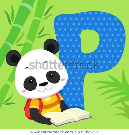 ábécé csempe panda olvas illusztráció olvas Stock fotó © lenm