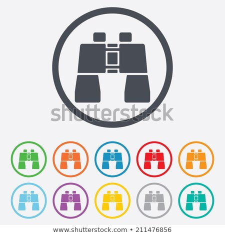 green and blue binoculars shaped round icon vector illustration stock photo © cidepix