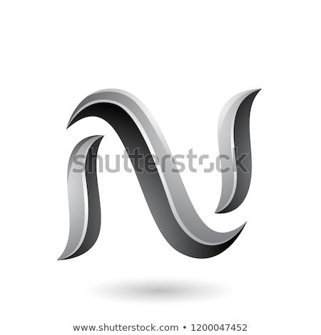grey snake shaped letter n vector illustration stock photo © cidepix