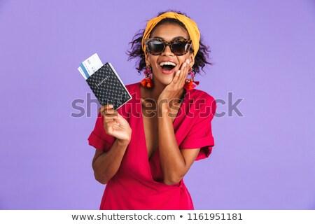 Feliz africano mulher vestir passaporte Foto stock © deandrobot