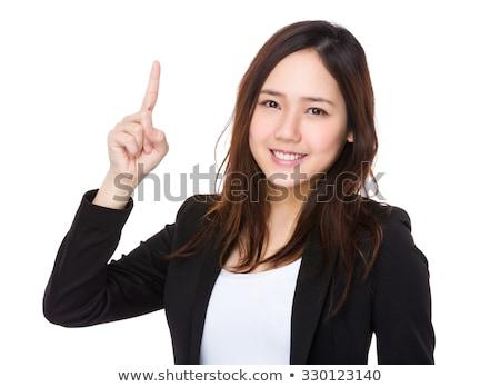 femme · d'affaires · pointant · isolé · blanche · affaires - photo stock © kzenon
