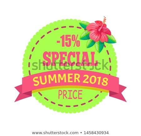zomer · seizoen- · korting · label · tropische · stijl - stockfoto © robuart