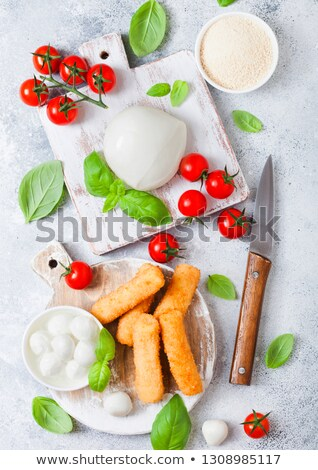 Fresh Mozzarella cheese on vintage chopping board with tomatoes and basil leaf and tray with cheese  Stock photo © DenisMArt