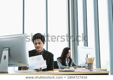 Stock fotó: üzletasszony · üzletember · táblagép · üzletemberek · technológia · vállalati