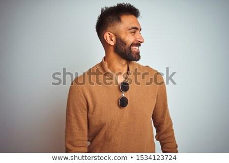 вид сбоку элегантный человека смеясь мышления серый Сток-фото © feedough