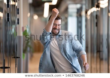 Biuro człowiek zwycięstwo strony działania mówić Zdjęcia stock © watcartoon