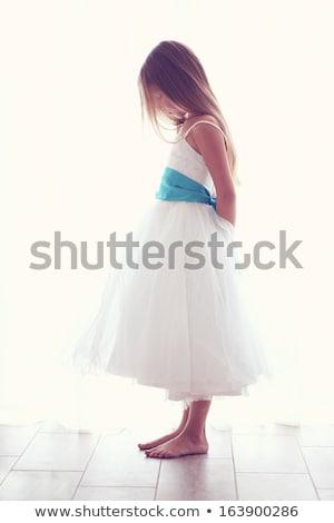 Kislány visel bolyhos ruha pózol koszorú Stock fotó © acidgrey