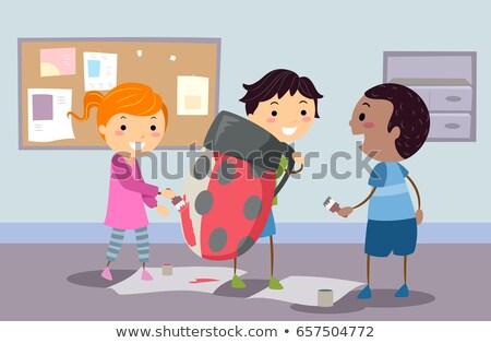 Crianças senhora bicho traje ilustração pintura Foto stock © lenm