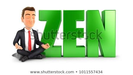 Stock fotó: 3d · ember · meditáció · szó · zen · illusztráció · izolált