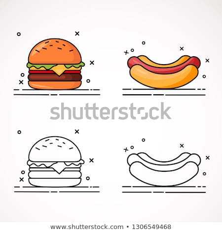 Hamburger hot dog ingesteld posters fast food amerikaanse Stockfoto © robuart