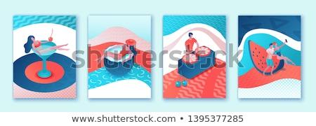 лет бассейна набор плакатов Бассейн текста Сток-фото © robuart