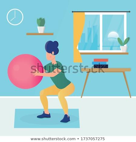 Genç kadın pilates top spor salonu kız uygunluk Stok fotoğraf © boggy