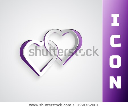 two hearts in papercut style valentines day greeting stock photo © sarts