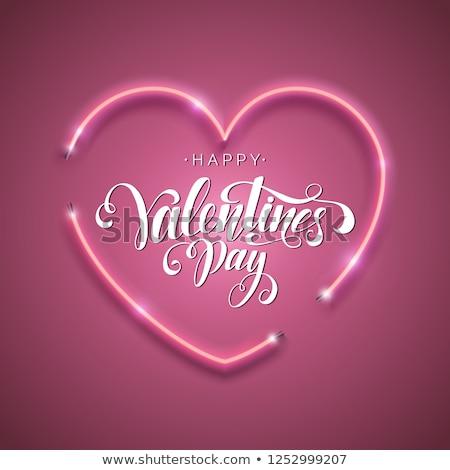 Happy Valentine Day Neon Banner Design Stock photo © Anna_leni