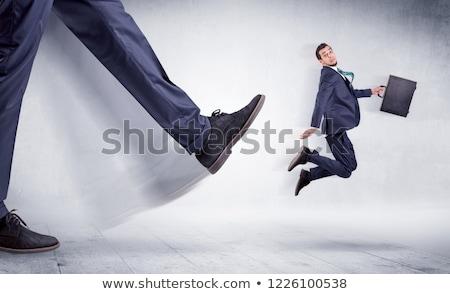 Duży nogi mały człowiek gigant Zdjęcia stock © ra2studio