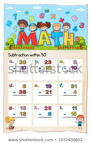 Math worksheet for subtraction within fifty Stock photo © colematt