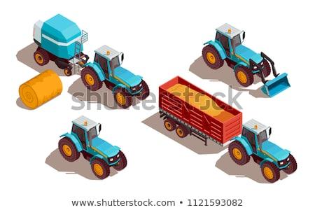 Traktör tahıl kamyon ayarlamak posterler metin Stok fotoğraf © robuart