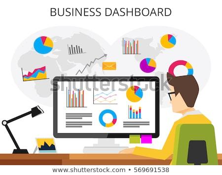 Tela do computador dados análise discutir resultados isolado Foto stock © robuart