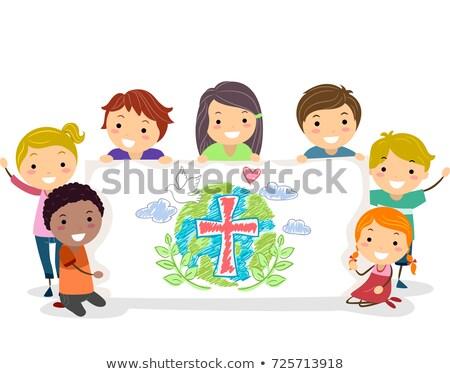Kinderen christenen groep banner illustratie Stockfoto © lenm