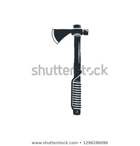 Vintage lenhador machado silhueta camping Foto stock © JeksonGraphics